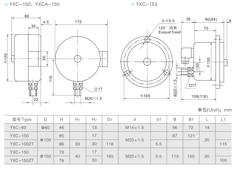 yx,yxc电接点压力表